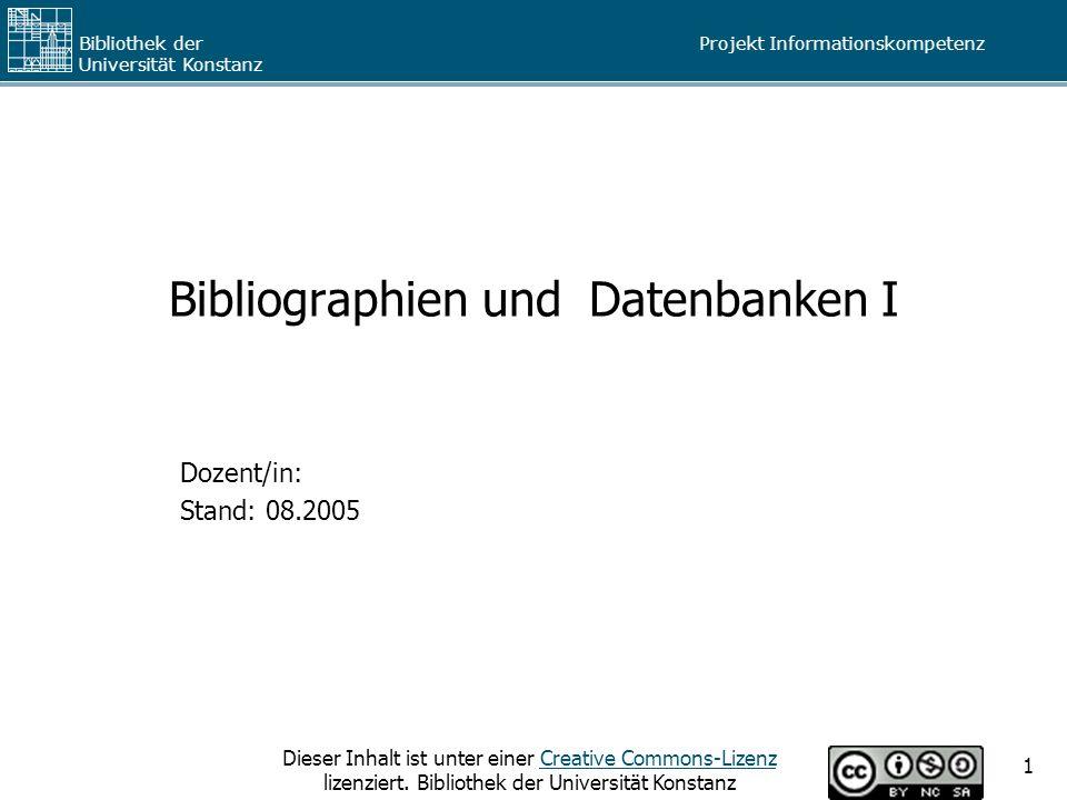 Bibliographien und Datenbanken I