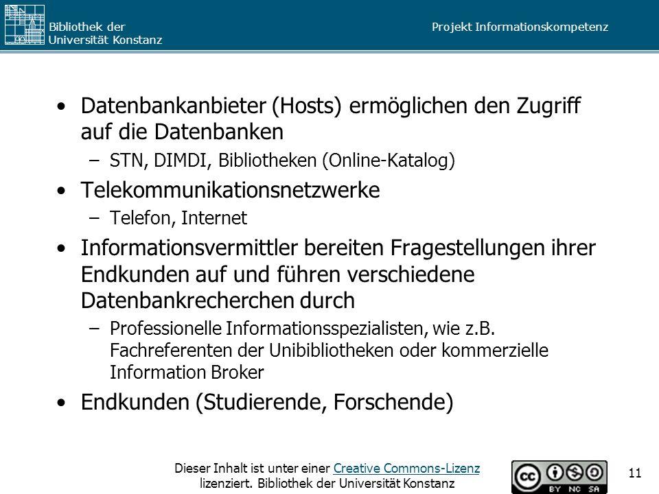 Datenbankanbieter (Hosts) ermöglichen den Zugriff auf die Datenbanken