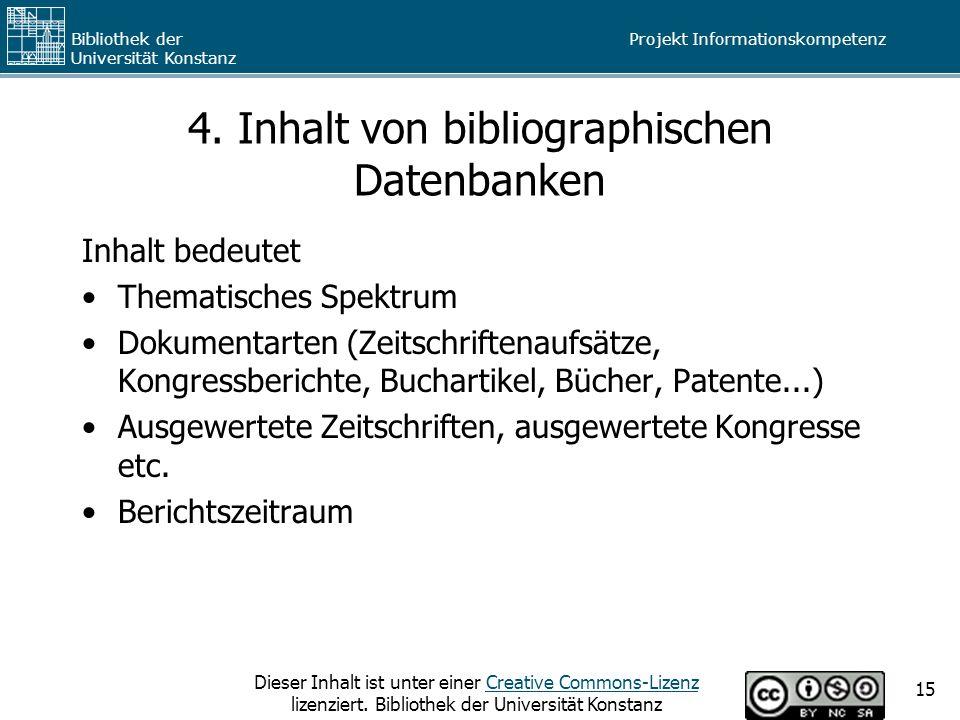 4. Inhalt von bibliographischen Datenbanken