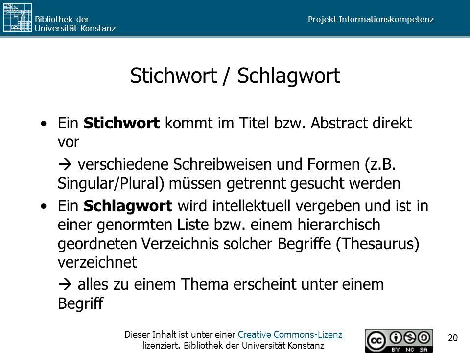 Stichwort / Schlagwort