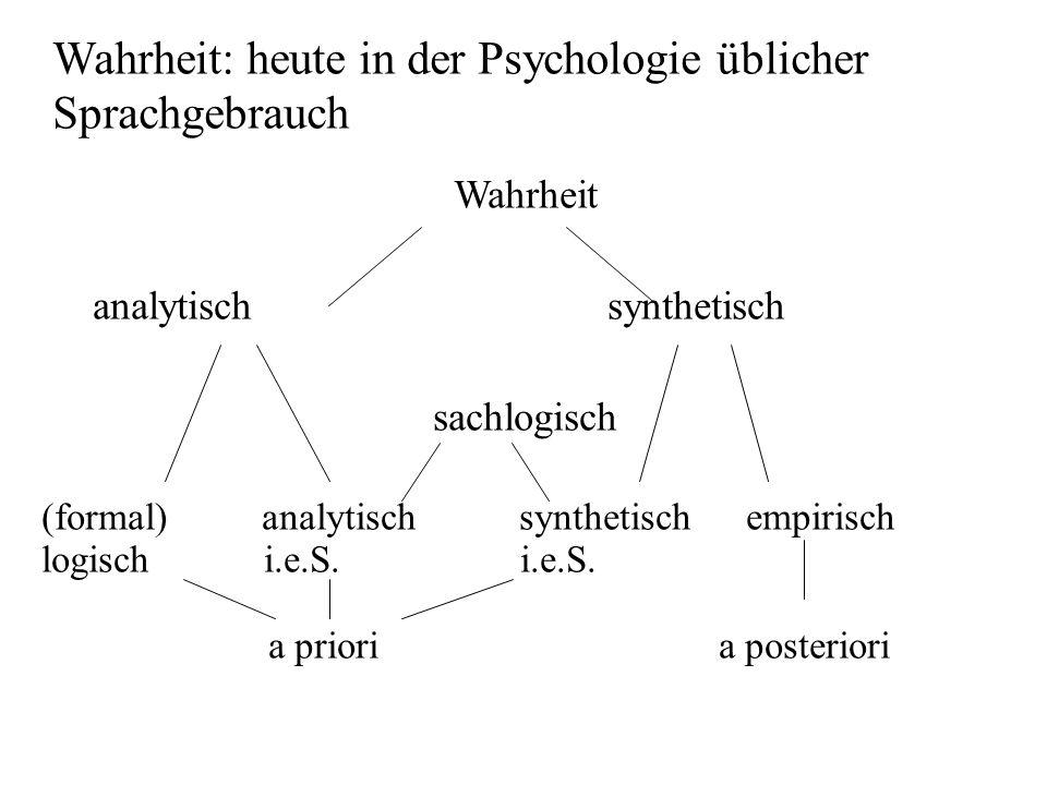 Wahrheit: heute in der Psychologie üblicher Sprachgebrauch