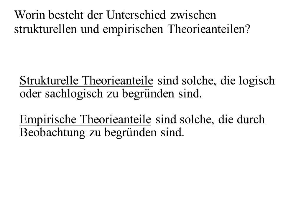 Worin besteht der Unterschied zwischen strukturellen und empirischen Theorieanteilen