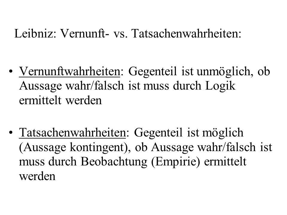 Leibniz: Vernunft- vs. Tatsachenwahrheiten: