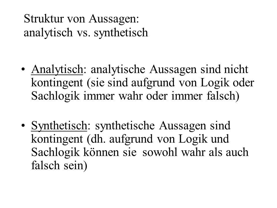 Struktur von Aussagen: analytisch vs. synthetisch
