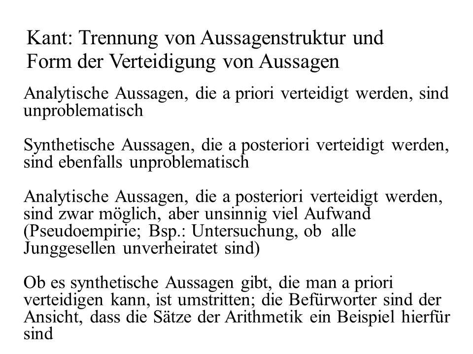 Kant: Trennung von Aussagenstruktur und Form der Verteidigung von Aussagen