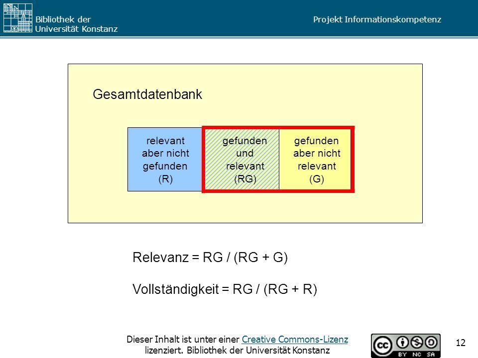 Vollständigkeit = RG / (RG + R)
