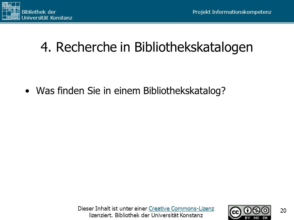 4. Recherche in Bibliothekskatalogen