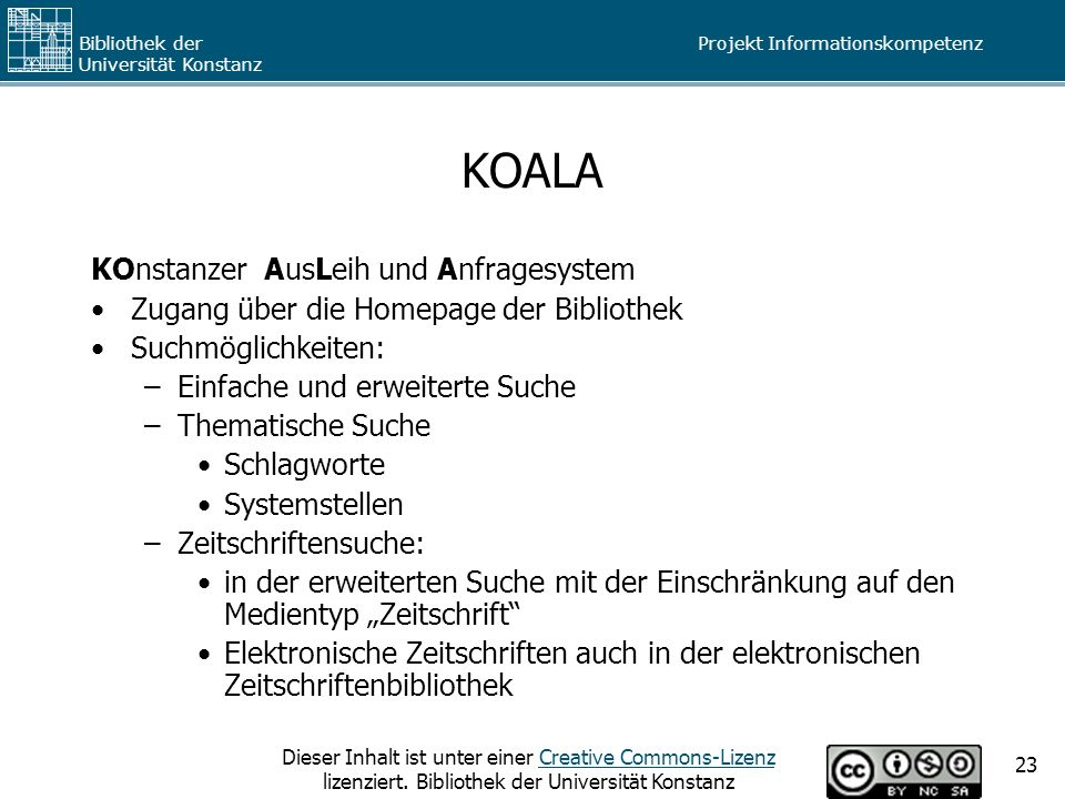 KOALA KOnstanzer AusLeih und Anfragesystem