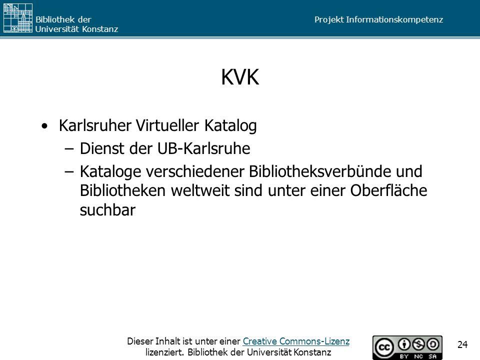 KVK Karlsruher Virtueller Katalog Dienst der UB-Karlsruhe