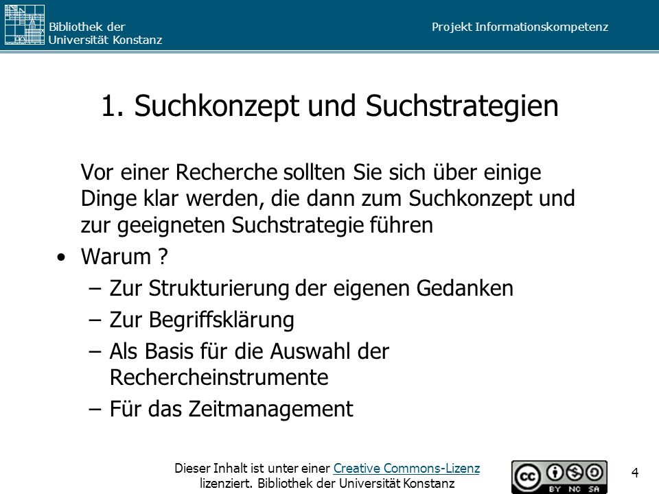 1. Suchkonzept und Suchstrategien