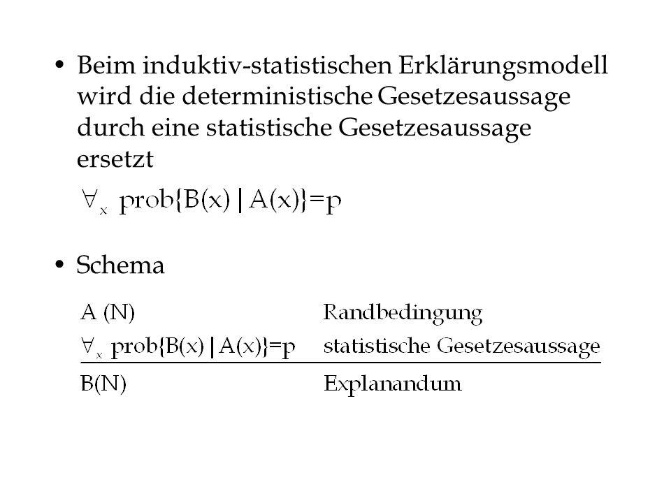 Beim induktiv-statistischen Erklärungsmodell wird die deterministische Gesetzesaussage durch eine statistische Gesetzesaussage ersetzt