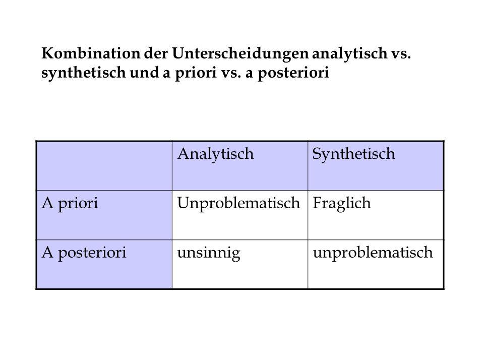 Kombination der Unterscheidungen analytisch vs