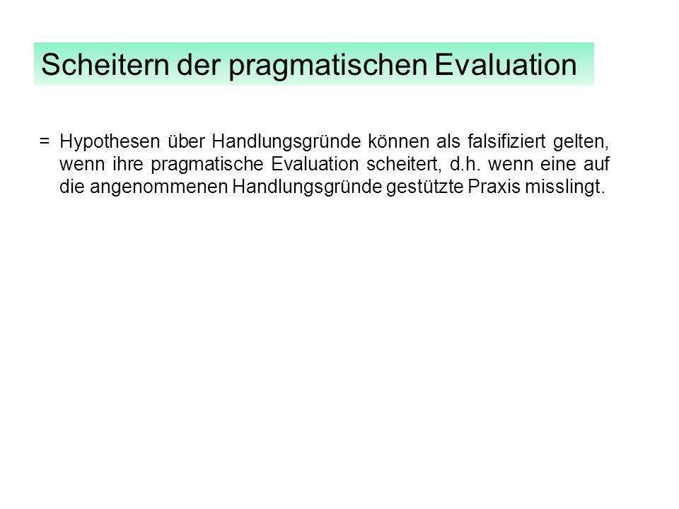 Scheitern der pragmatischen Evaluation