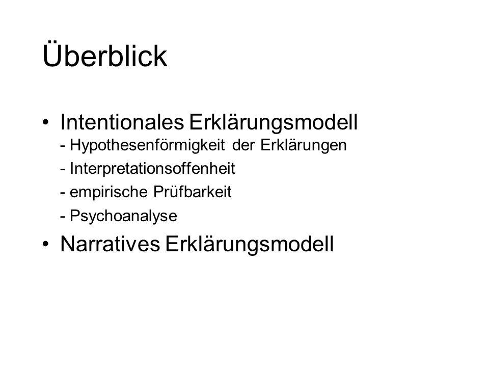 Überblick Intentionales Erklärungsmodell - Hypothesenförmigkeit der Erklärungen. - Interpretationsoffenheit.