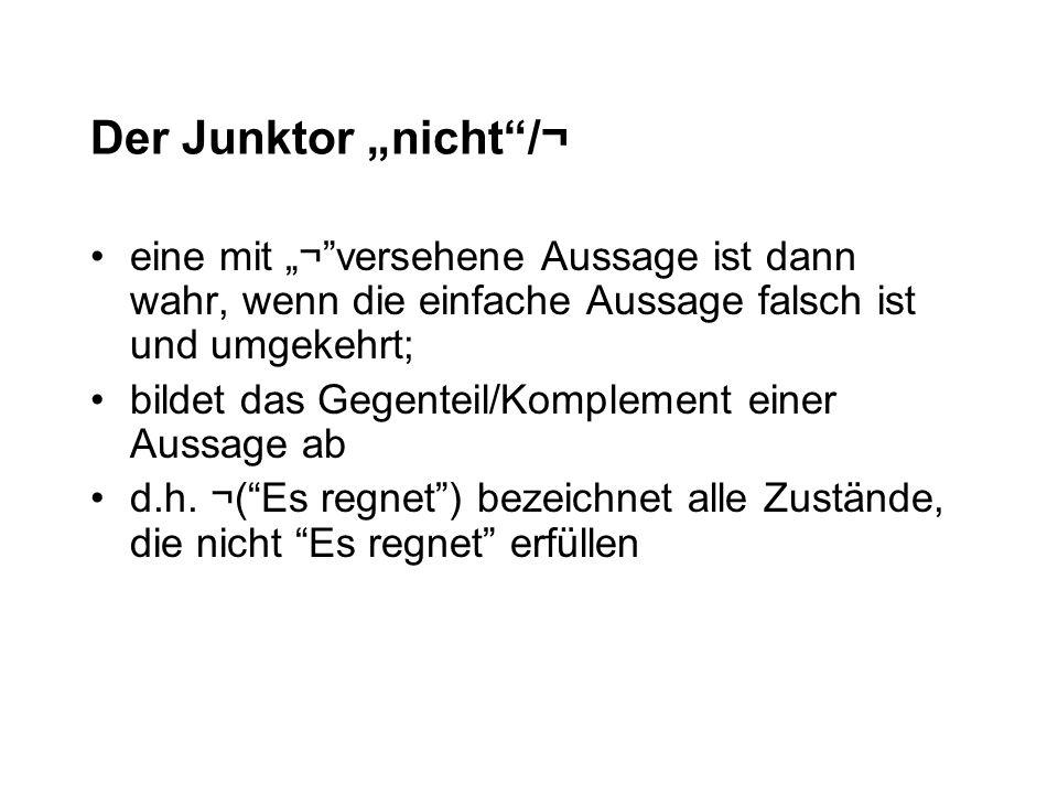 """Der Junktor """"nicht /¬ eine mit """"¬ versehene Aussage ist dann wahr, wenn die einfache Aussage falsch ist und umgekehrt;"""