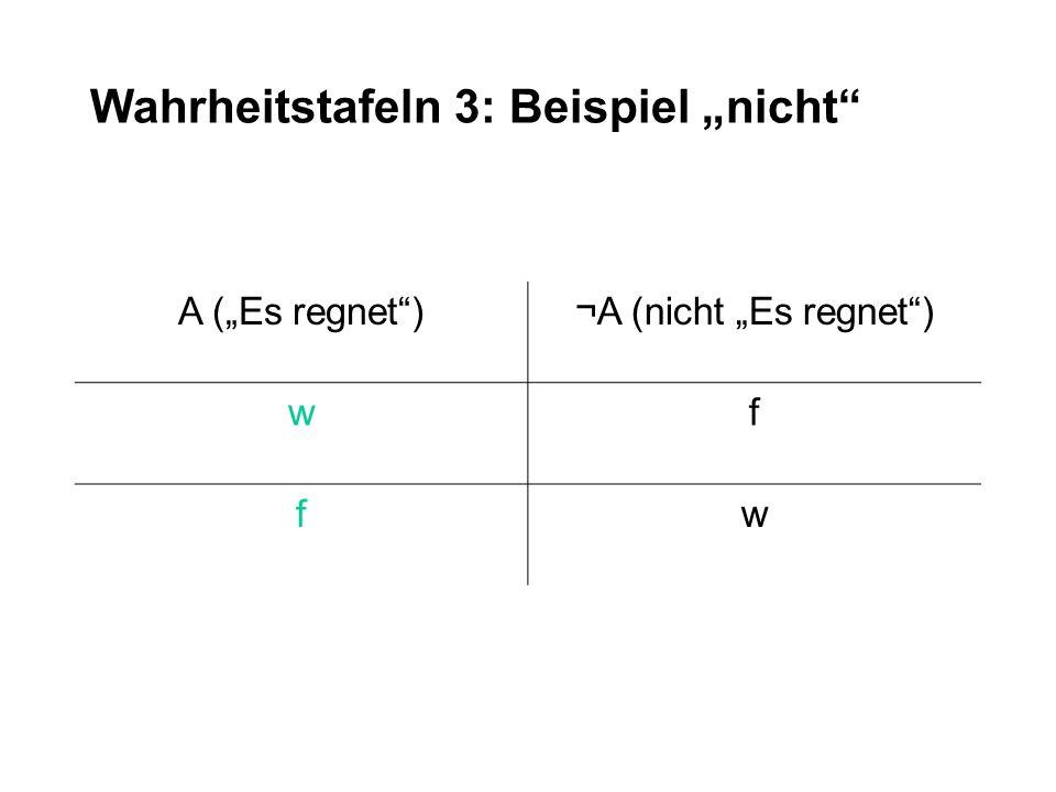 """Wahrheitstafeln 3: Beispiel """"nicht"""