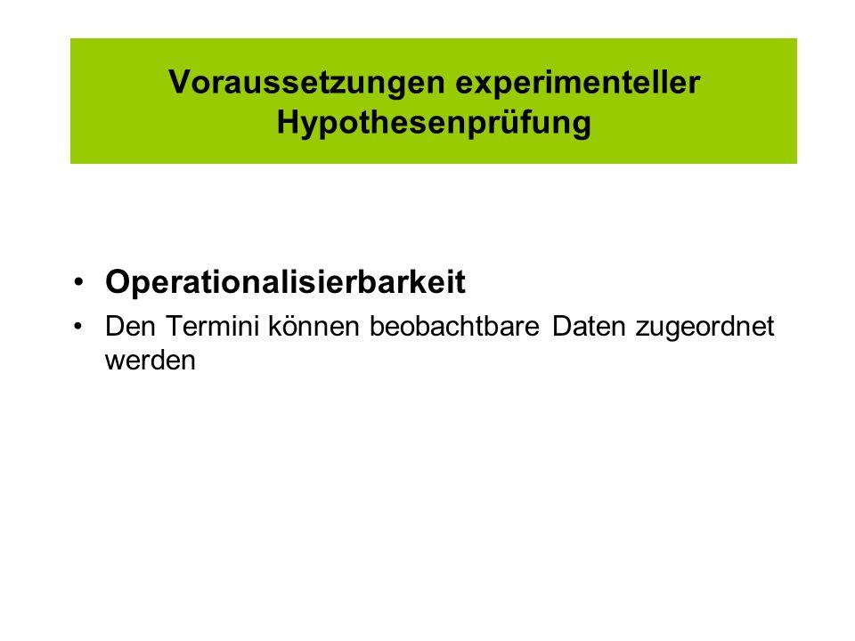 Voraussetzungen experimenteller Hypothesenprüfung