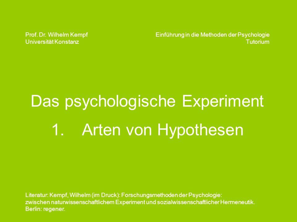 Das psychologische Experiment 1. Arten von Hypothesen