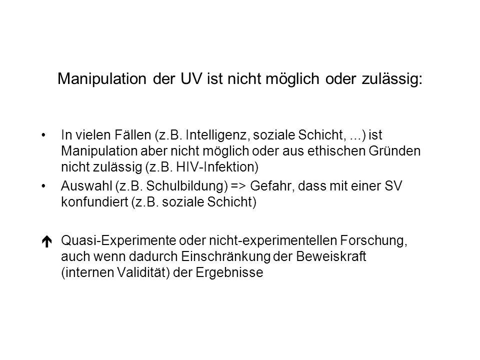 Manipulation der UV ist nicht möglich oder zulässig: