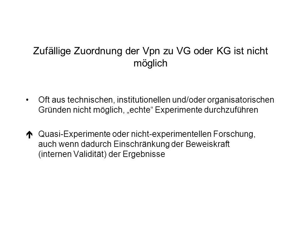 Zufällige Zuordnung der Vpn zu VG oder KG ist nicht möglich