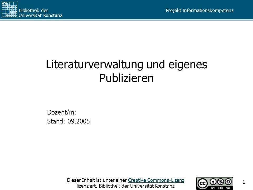 Literaturverwaltung und eigenes Publizieren