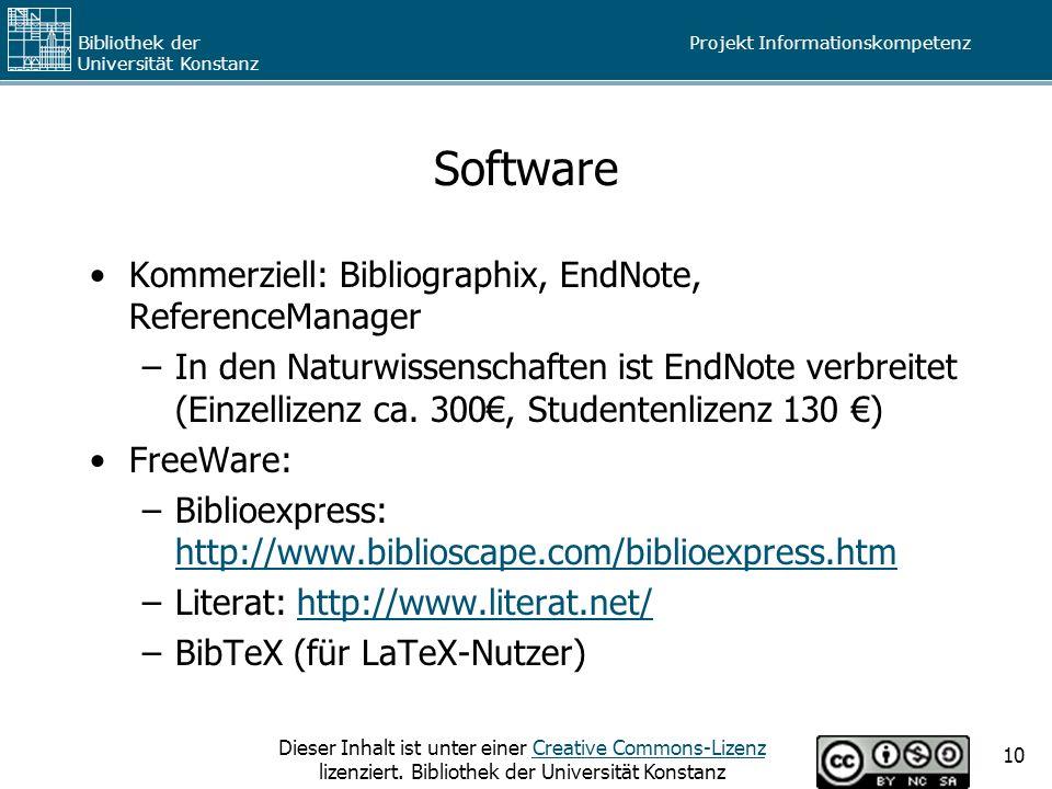 Software Kommerziell: Bibliographix, EndNote, ReferenceManager