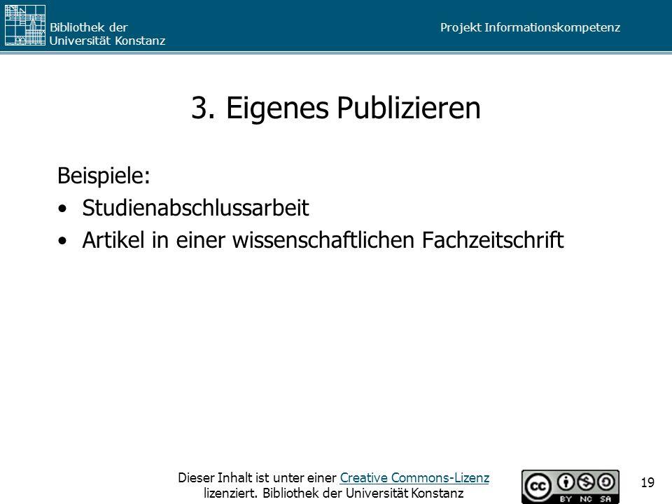 3. Eigenes Publizieren Beispiele: Studienabschlussarbeit