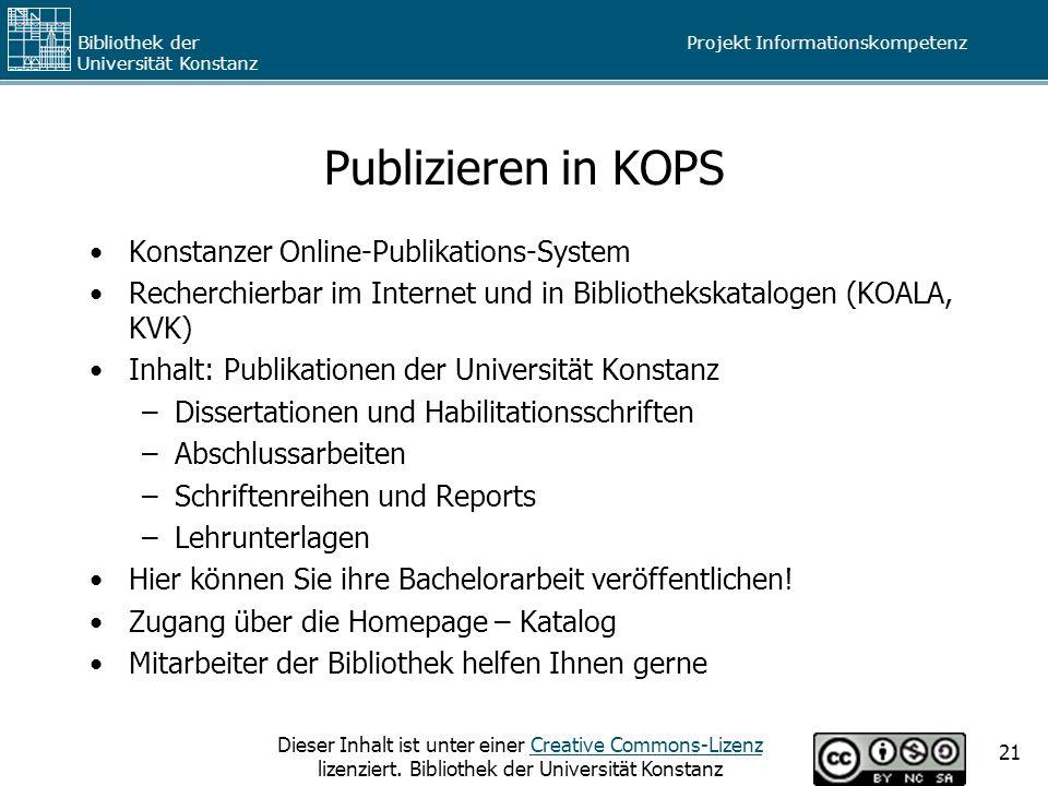 Publizieren in KOPS Konstanzer Online-Publikations-System