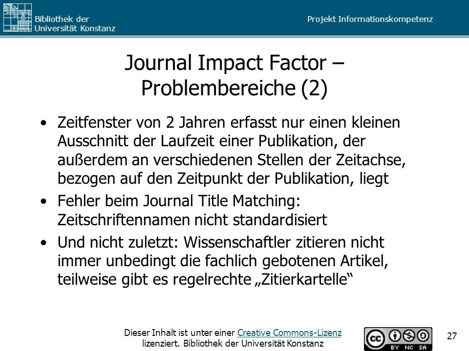 Journal Impact Factor – Problembereiche (2)