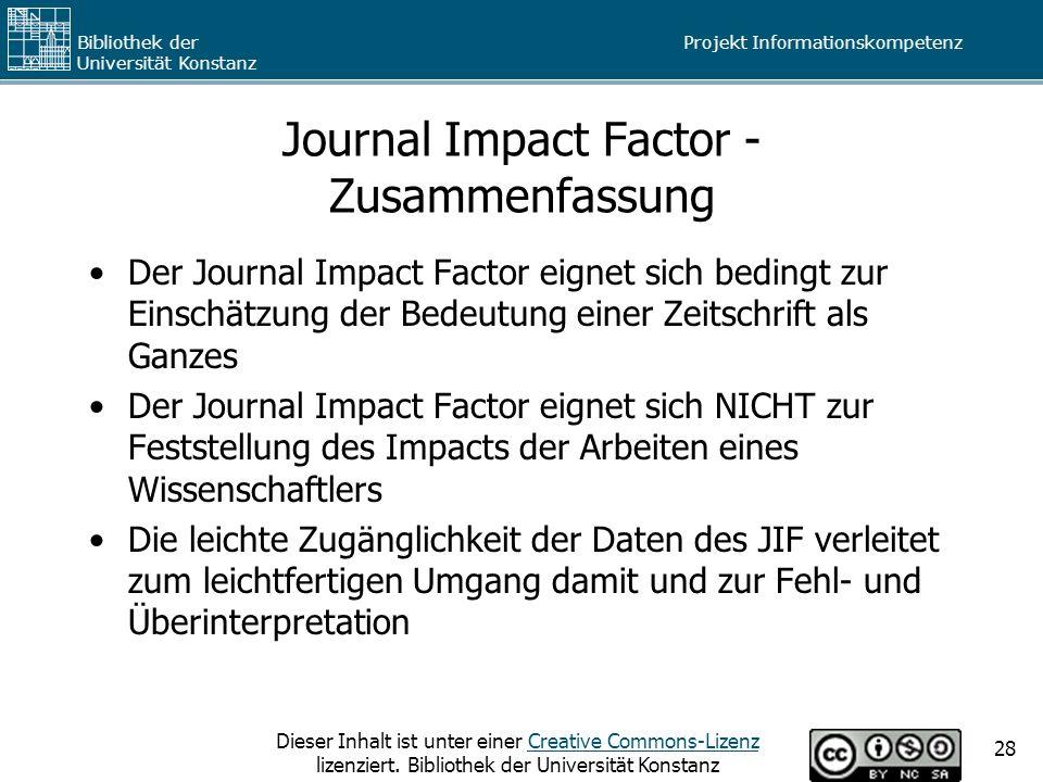 Journal Impact Factor - Zusammenfassung