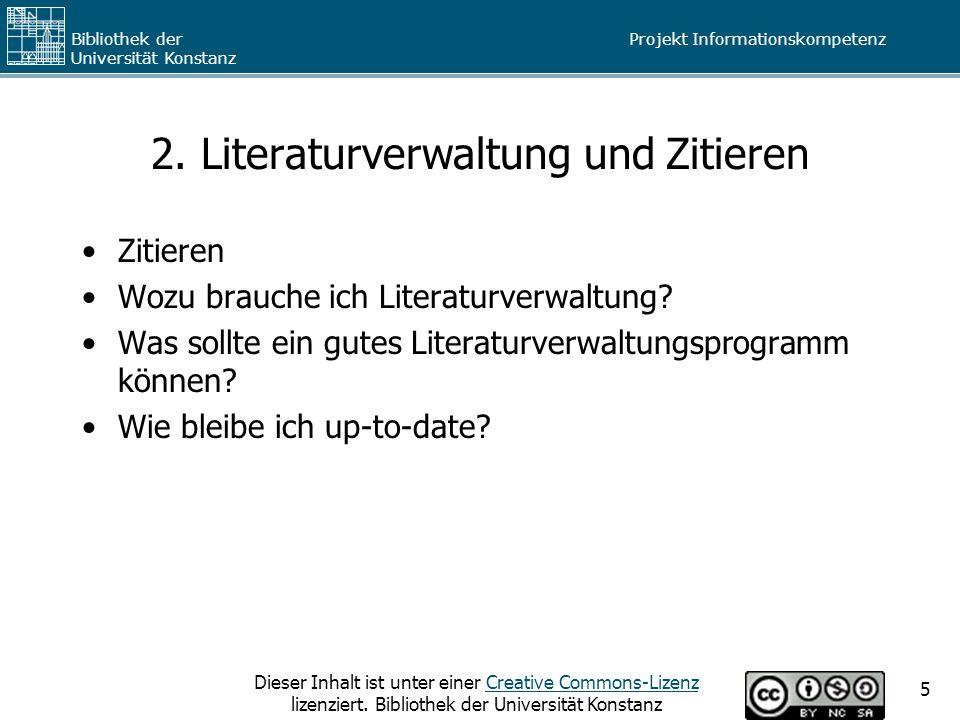 2. Literaturverwaltung und Zitieren