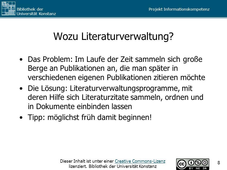 Wozu Literaturverwaltung