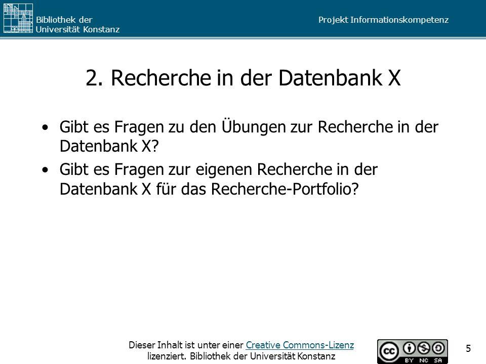 2. Recherche in der Datenbank X