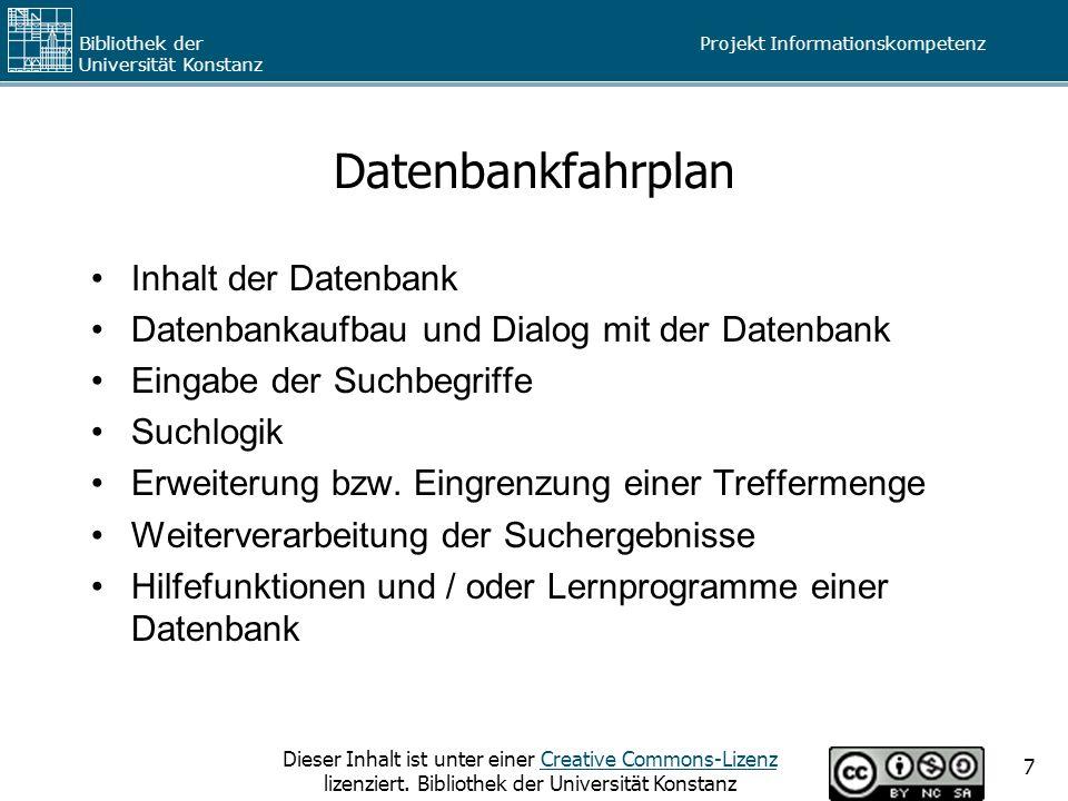Datenbankfahrplan Inhalt der Datenbank