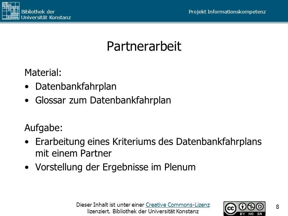 Partnerarbeit Material: Datenbankfahrplan