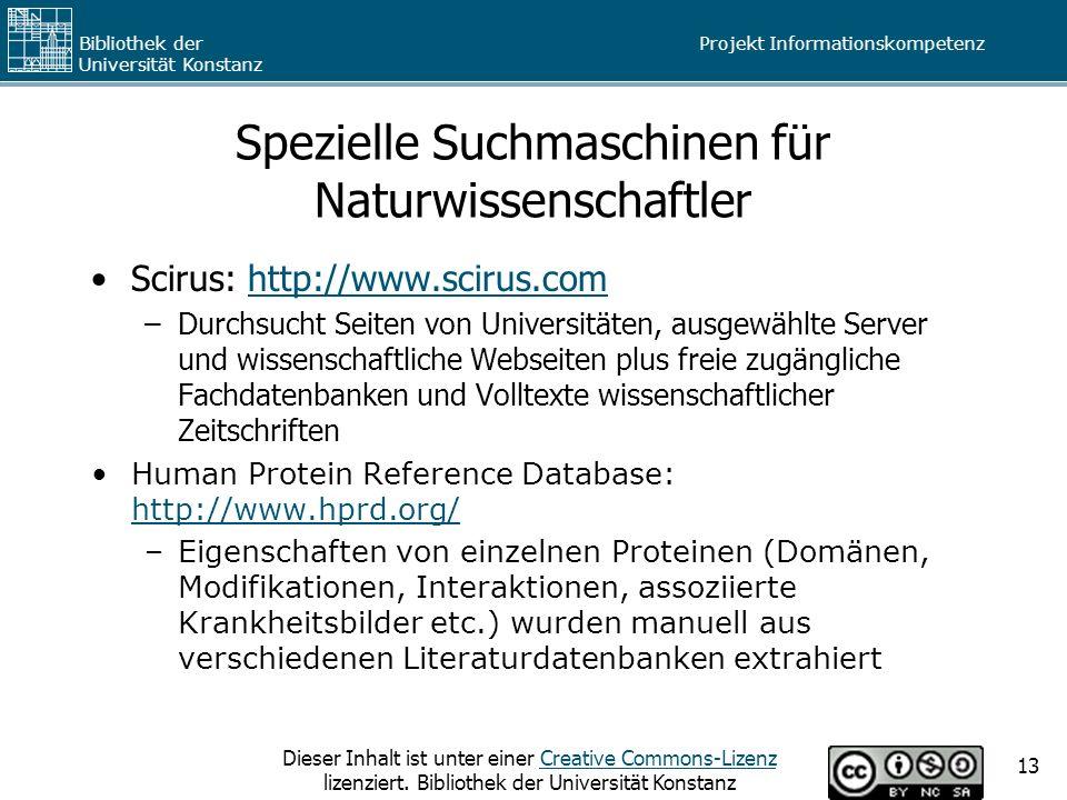 Spezielle Suchmaschinen für Naturwissenschaftler
