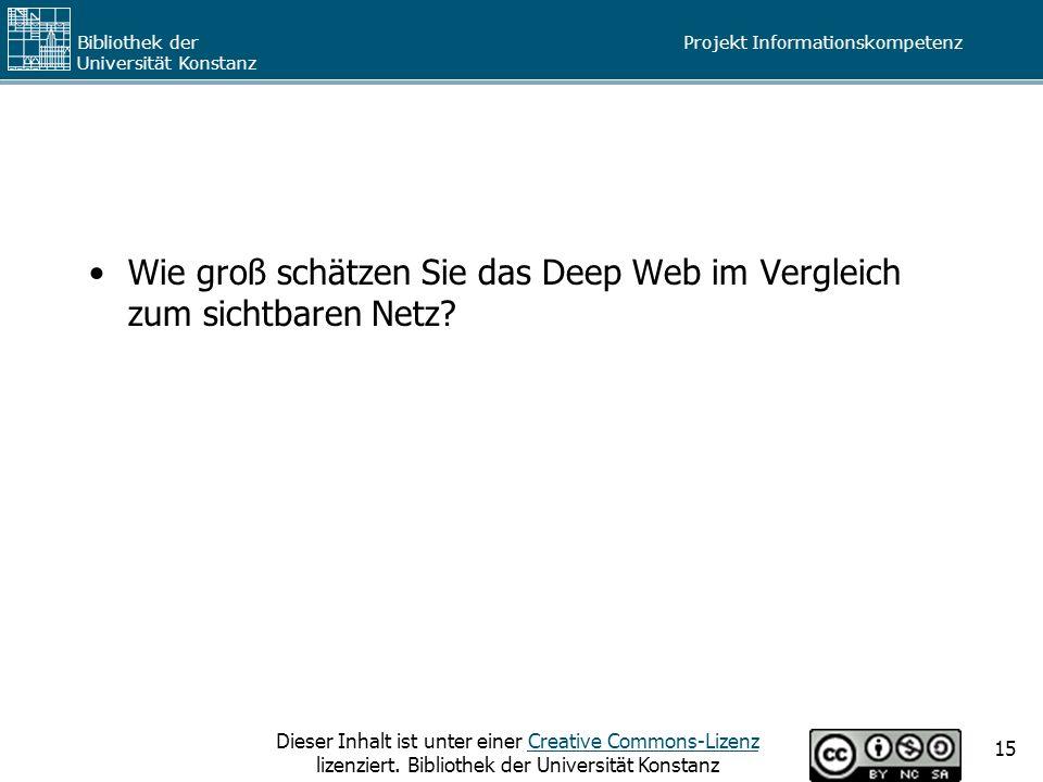 Wie groß schätzen Sie das Deep Web im Vergleich zum sichtbaren Netz
