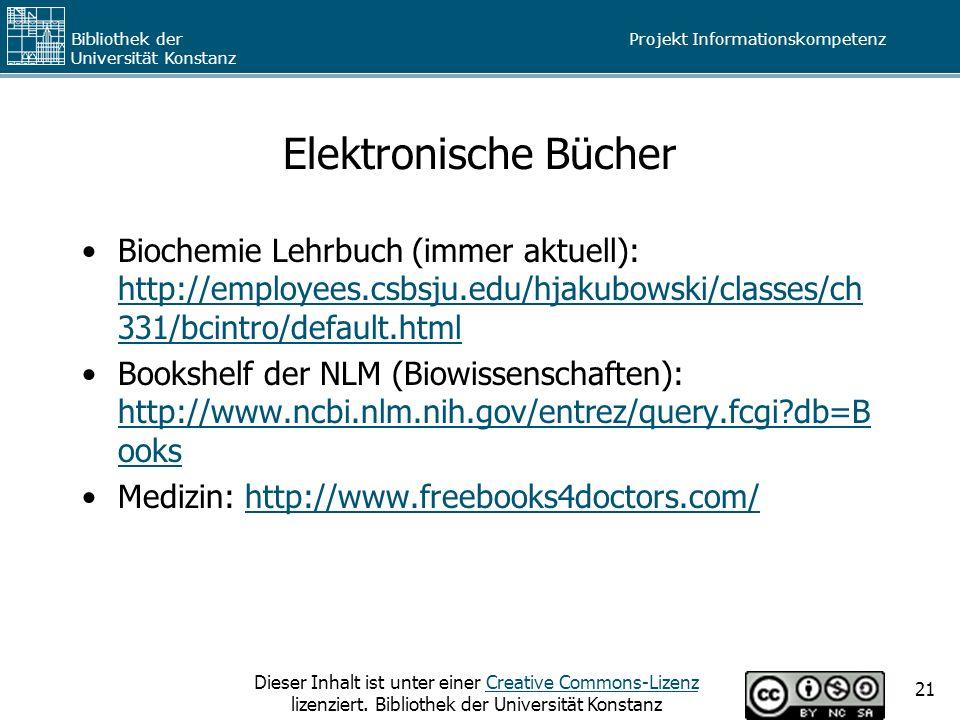 Elektronische Bücher Biochemie Lehrbuch (immer aktuell): http://employees.csbsju.edu/hjakubowski/classes/ch331/bcintro/default.html.