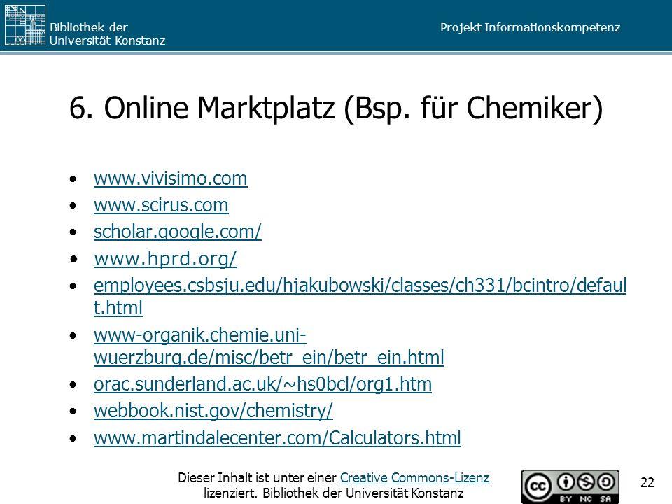 6. Online Marktplatz (Bsp. für Chemiker)