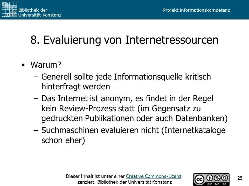 8. Evaluierung von Internetressourcen