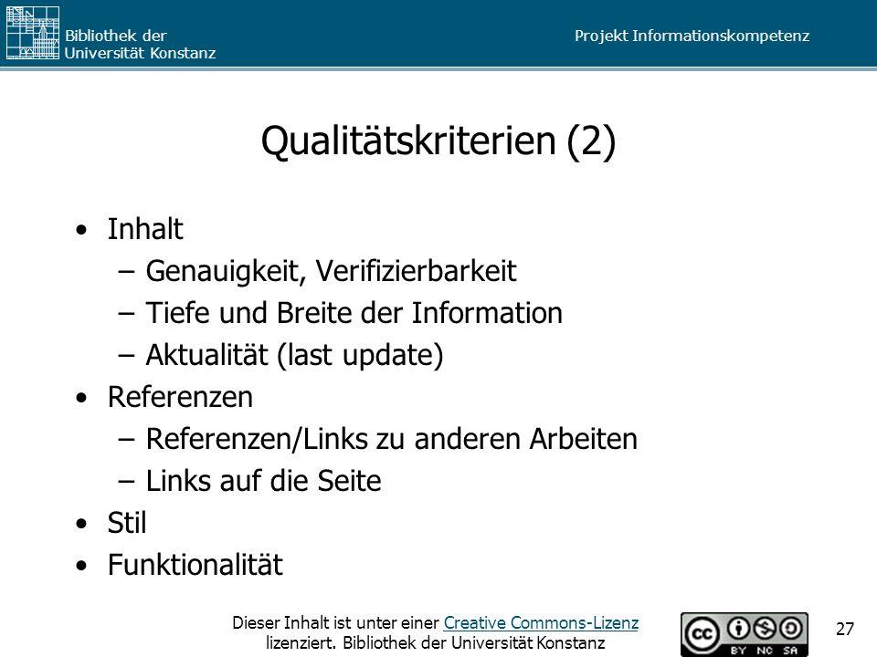 Qualitätskriterien (2)