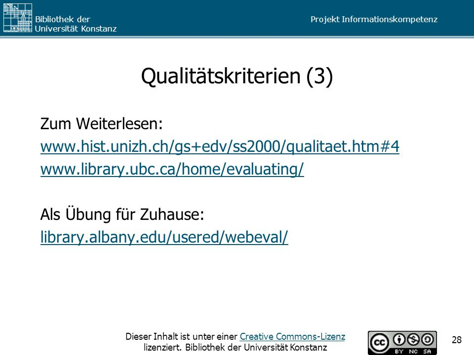 Qualitätskriterien (3)