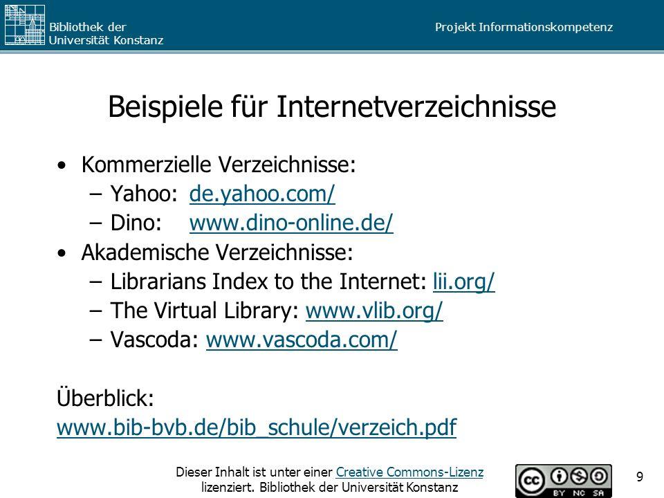 Beispiele für Internetverzeichnisse