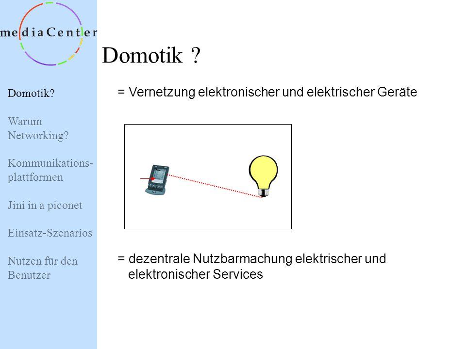 Domotik = Vernetzung elektronischer und elektrischer Geräte