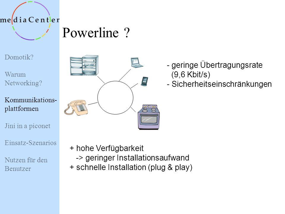 Powerline - geringe Übertragungsrate (9,6 Kbit/s)
