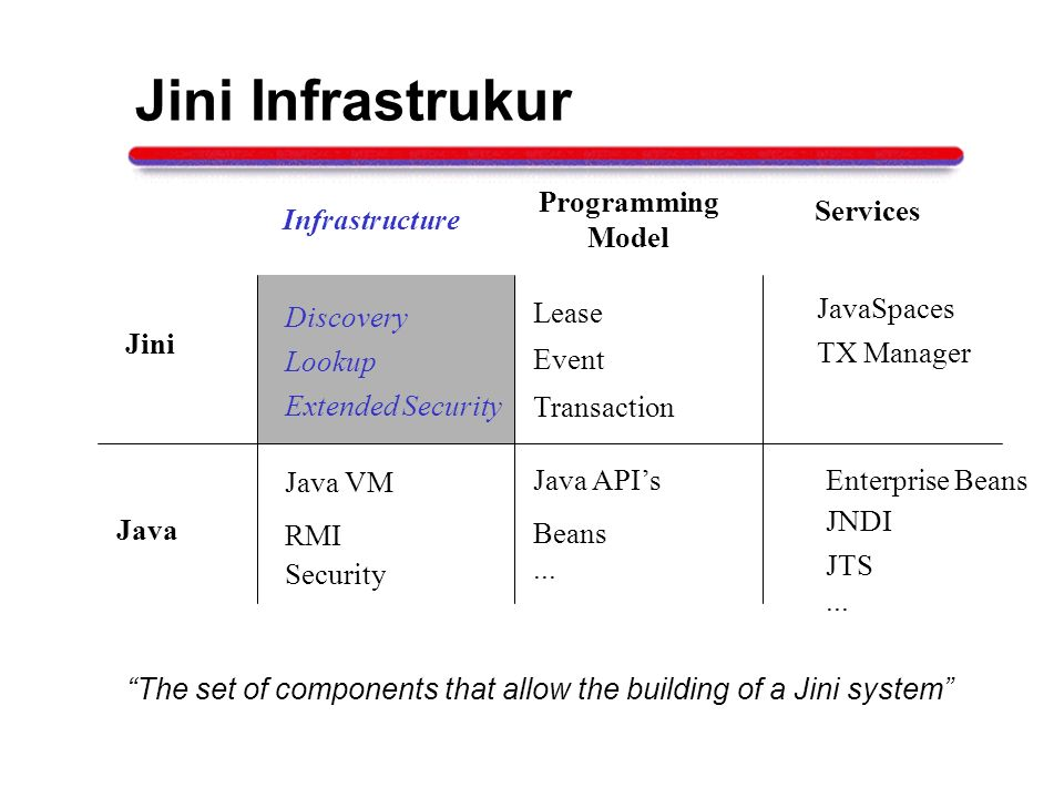 Jini Infrastrukur Java Infrastructure Programming Model Services RMI