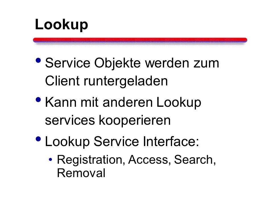 Lookup Service Objekte werden zum Client runtergeladen