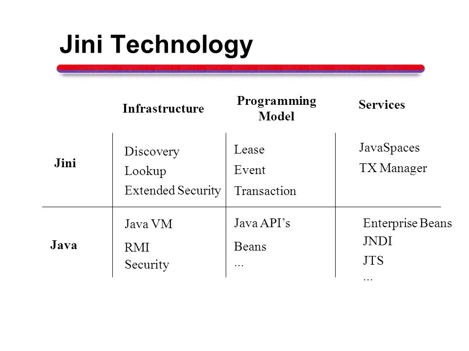 Jini Technology Java Infrastructure Programming Model Services RMI