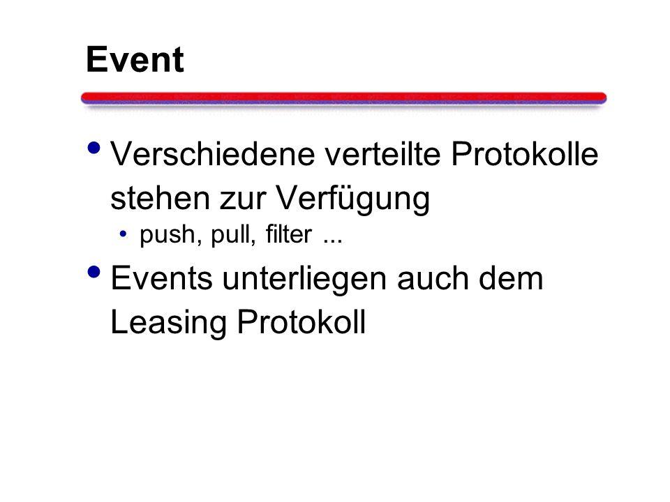 Event Verschiedene verteilte Protokolle stehen zur Verfügung