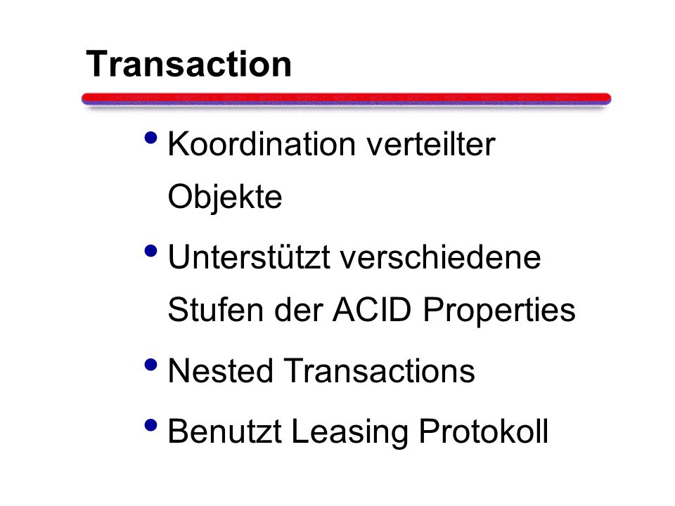 Transaction Koordination verteilter Objekte